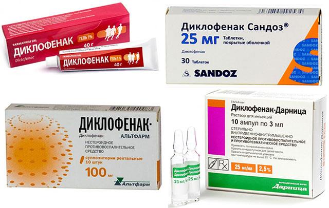 диклофенак в виде мази, таблеток, свечей и в ампулах