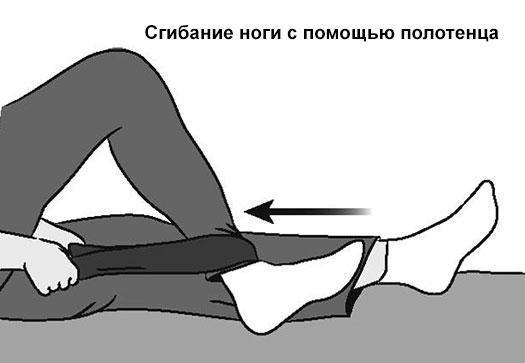 сгибание ноги с помощью полотенца