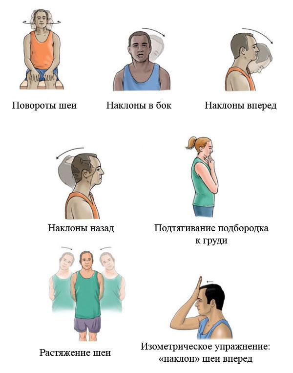 примеры упражнений для шейного отдела позвоночника