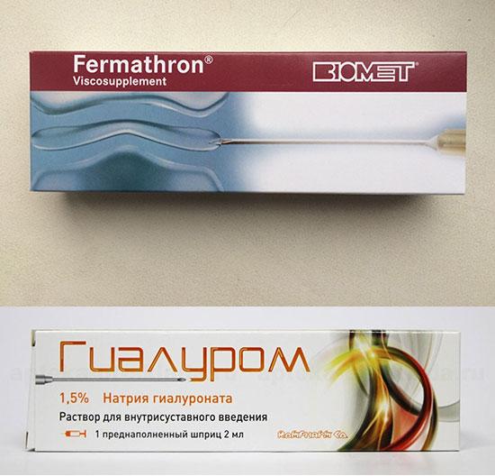 препараты гиалуроновой кислоты Ферматрон и Гиалурон
