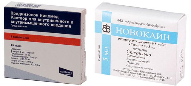 препараты Преднизолон и Новокаин