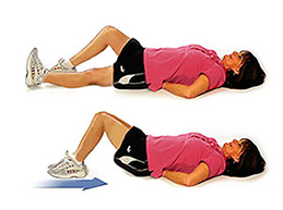 упражнение, скольжение согнутых в колене ног