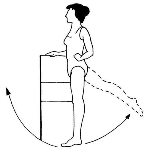 упражнение с отводом ноги назад