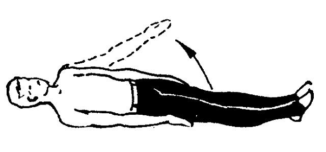 поднятие рук вверх в позиции лежа