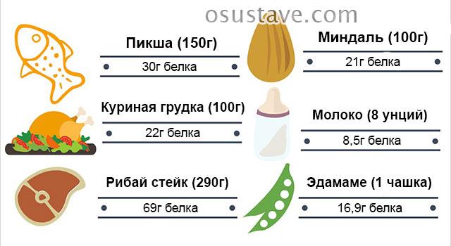 содержание белков в различных блюдах