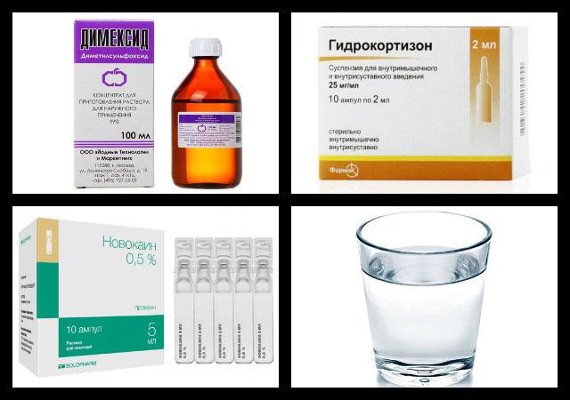 димексид, гидрокортизон, новокаин, вода