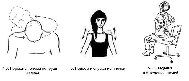 перекаты головы, подъемы и сведения плечей