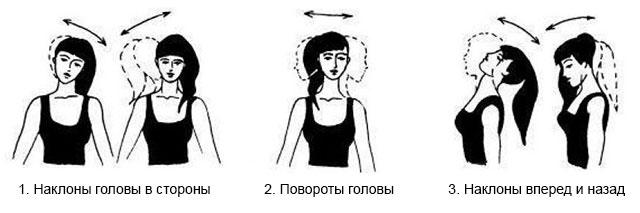 наклоны и повороты головы