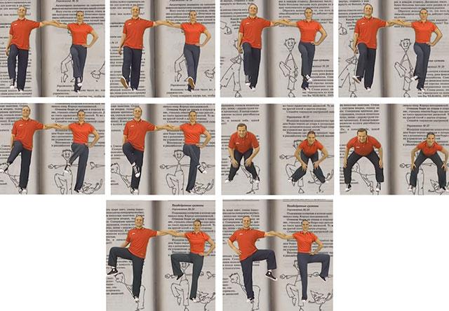 иллюстрация упражнений Норбекова для суставов ног