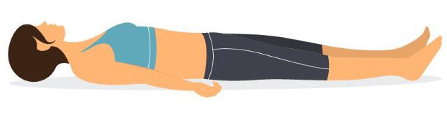 исходное положение лежа на спине, напряжение мышц бедер и ягодиц