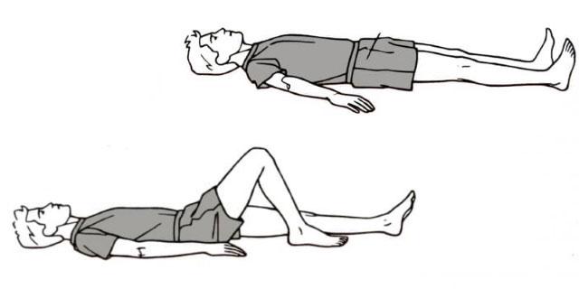 попеременное сгибание и разгибание ног в коленях из положения лежа на спине
