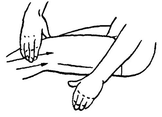 надавливающее разминание коленного сустава