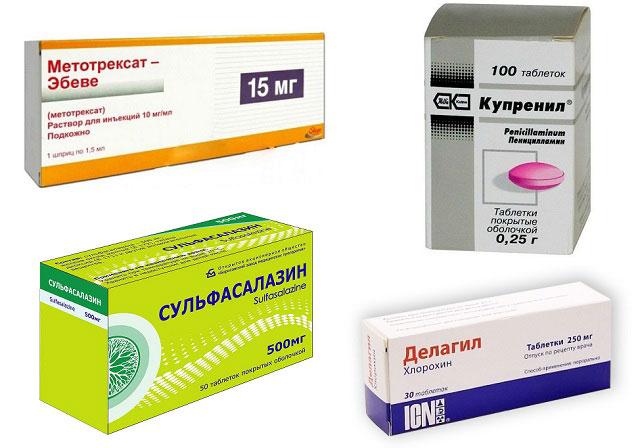 препараты Метотрексат, Д-пеницилламин, Сульфасалазин, Делагил