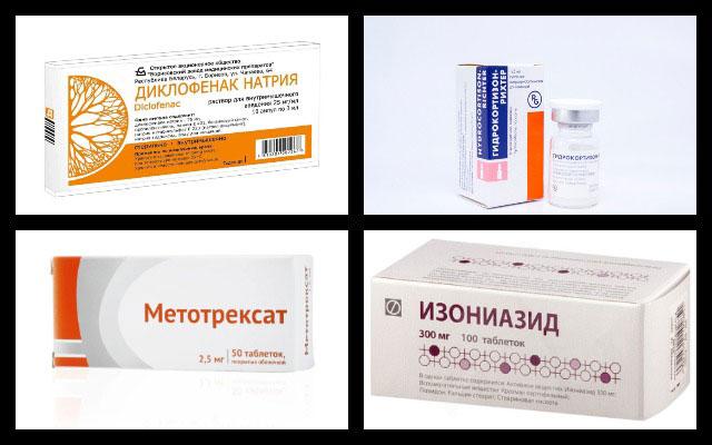 диклофенак натрия, гидрокортизон, метотрексат, изониазид