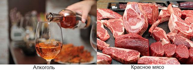 алкоголь и красное мясо