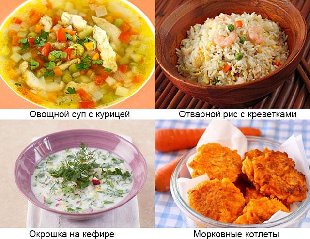 примеры рекомендованных блюд при подагрическом артрите