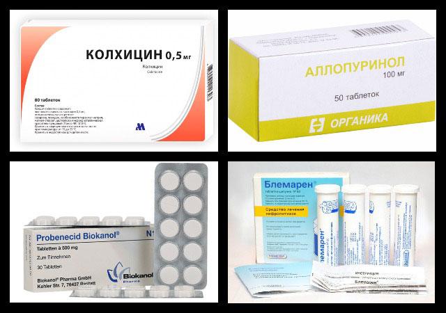 колхицин, аллопуринол, пробенецид, блемарен