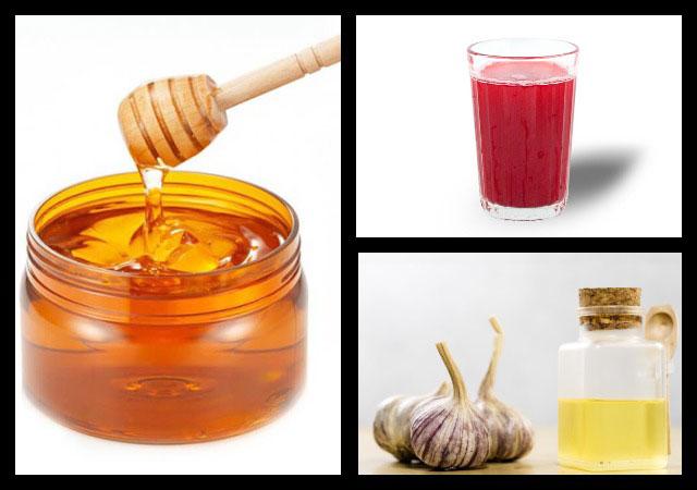 мед, клюквенный и чесночный сок