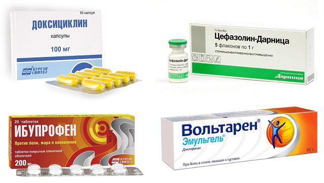 препараты Доксициклин, Цефазолин, Ибупрофен и Вольтарен