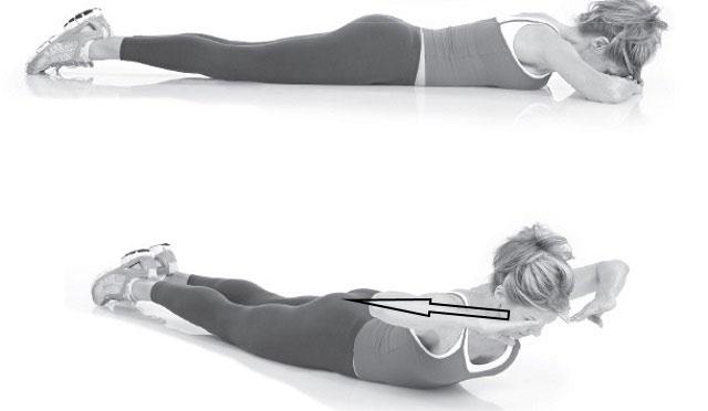 приподнимание верхней части тела из положения лежа на животе
