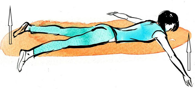 поднимание разведенных рук и ног из положения лежа на животе