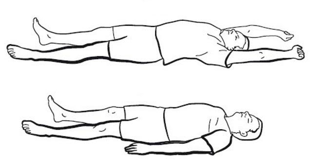 заведение прямых рук за голову лежа на спине