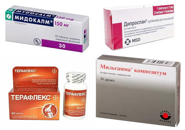 препараты Мидокалм, Дипроспан, Терафлекс и Мильгамма