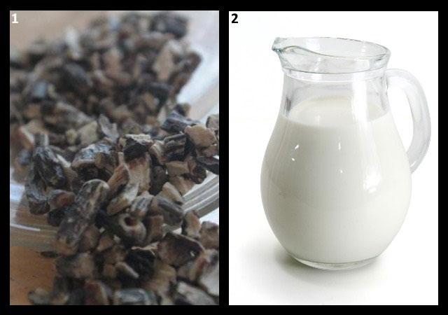 ингредиенты для приготовления окопника на молоке