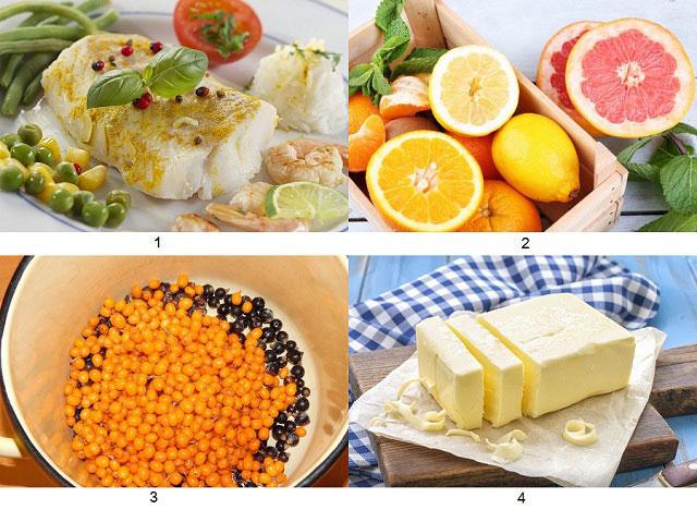 белая рыба, цитрусовые, облепиха и смородина, сливочное масло