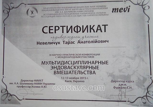 сертификат Нивелчука Тараса об участии в конференции Мультидисциплинарные эндоваскулярные вмешательства