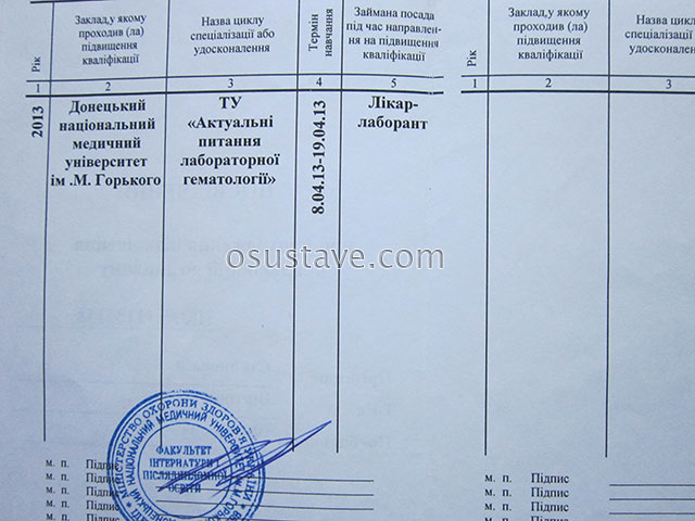 свидетельство Стояновой Виктории о повышении квалификации по гематологии
