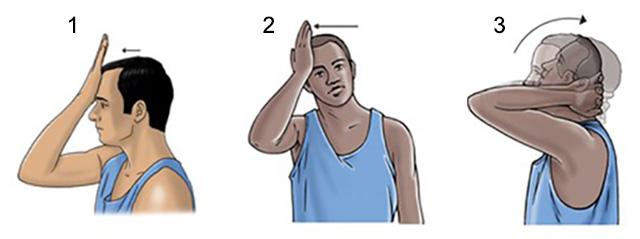 иллюстрация упражнений гимнастики при головной боли при шейном остеохондрозе
