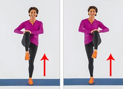 упражнение со согнутой ногой