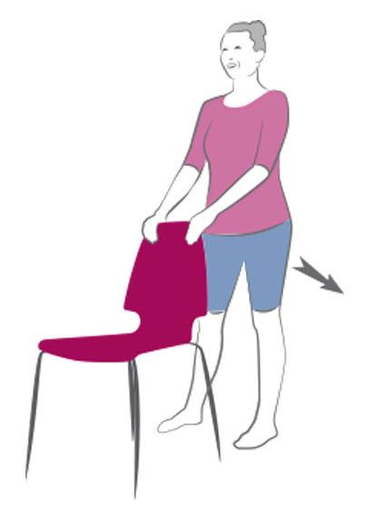 упражнение с отведением прямой ноги назад с опорой на стул
