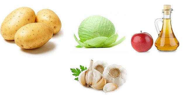 картофель, капуста, яблочный уксус и чеснок