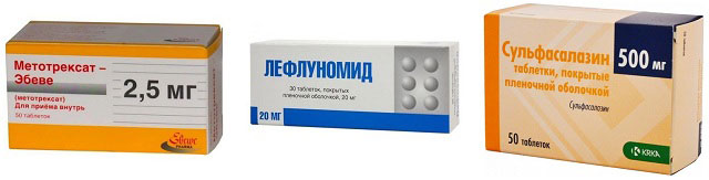 препараты Метотрексат, Лефлуномид, Сульфасалазин