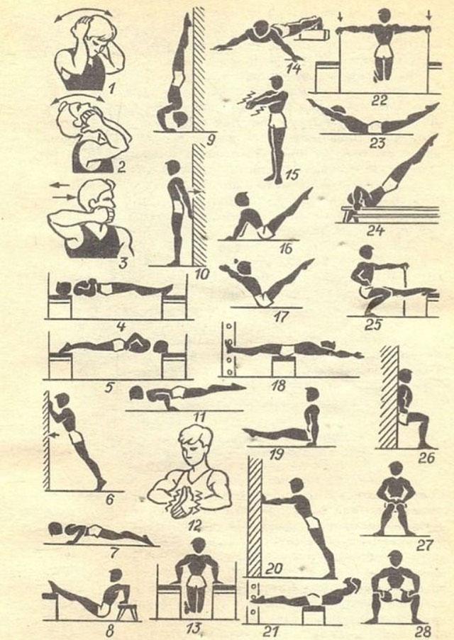 комплекс изометрических упражнений без дополнительных снарядов