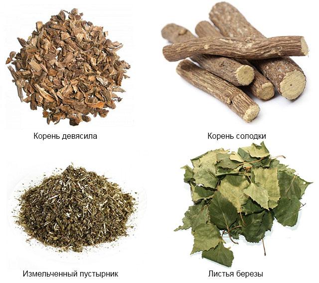 корень девясила, солодки, пустырник и листья березы